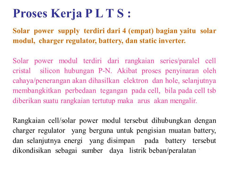 Proses Kerja P L T S : Solar power supply terdiri dari 4 (empat) bagian yaitu solar modul, charger regulator, battery, dan static inverter. Solar powe