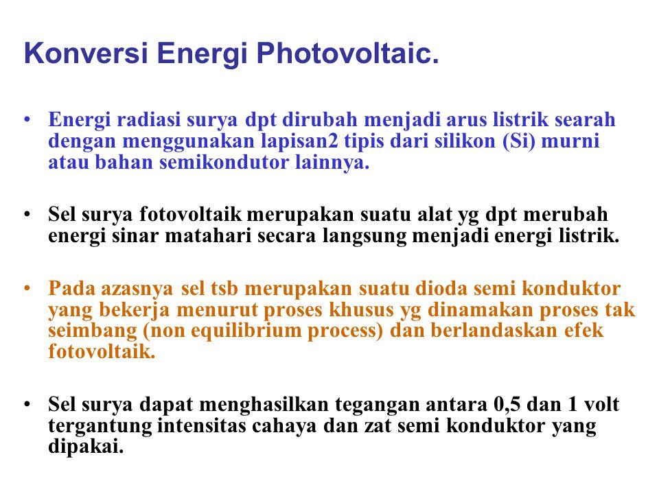 Konversi Energi Photovoltaic. Energi radiasi surya dpt dirubah menjadi arus listrik searah dengan menggunakan lapisan2 tipis dari silikon (Si) murni a