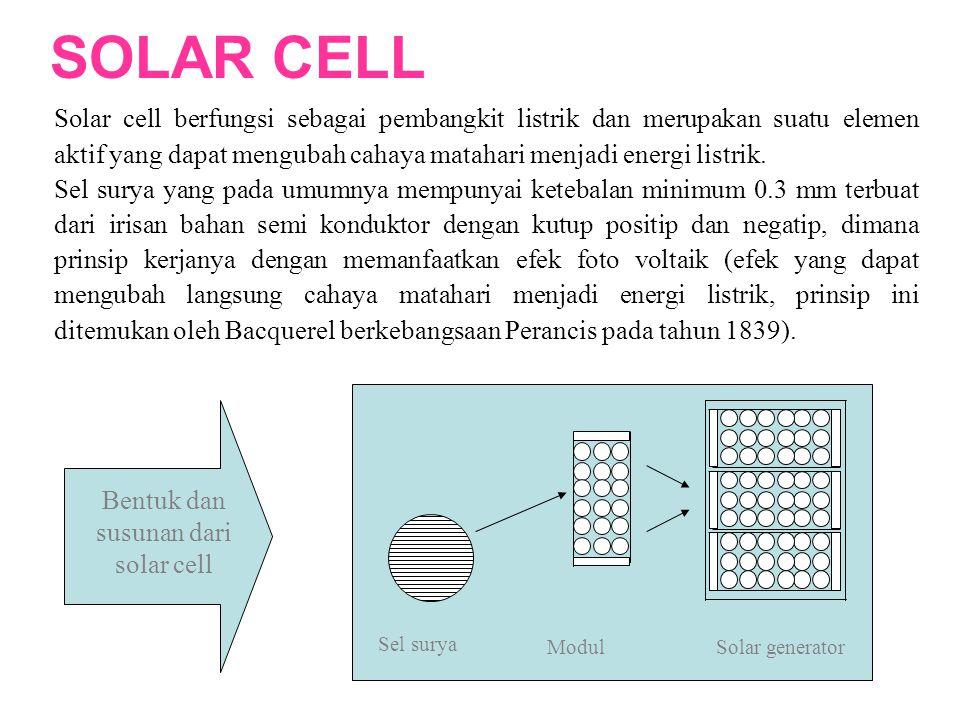 Solar cell berfungsi sebagai pembangkit listrik dan merupakan suatu elemen aktif yang dapat mengubah cahaya matahari menjadi energi listrik. Sel surya