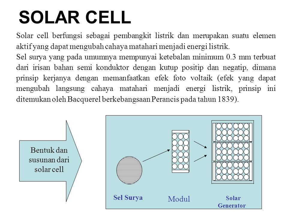 Solar cell berfungsi sebagai pembangkit listrik dan merupakan suatu elemen aktif yang dapat mengubah cahaya matahari menjadi energi listrik.