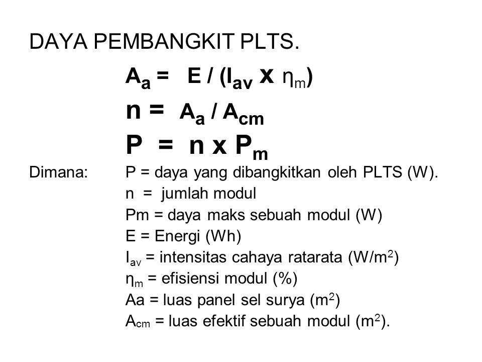 DAYA PEMBANGKIT PLTS. A a = E / (I av x η m ) n = A a / A cm P = n x P m Dimana: P = daya yang dibangkitkan oleh PLTS (W). n = jumlah modul Pm = daya