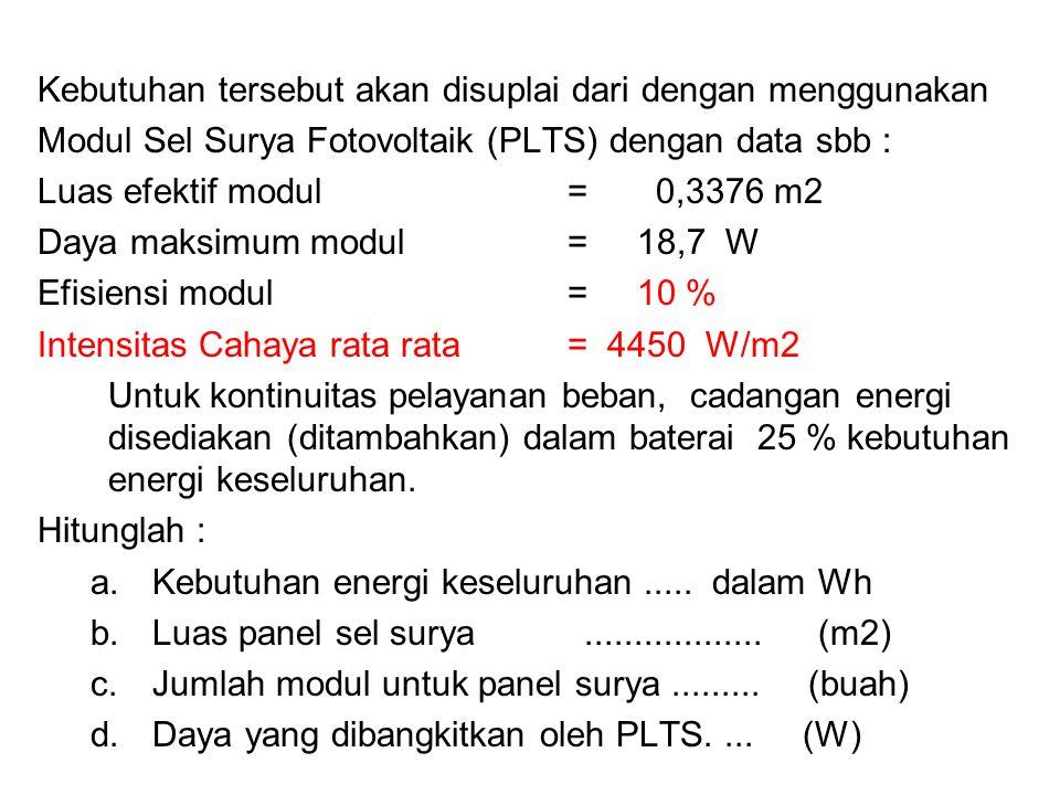 Kebutuhan tersebut akan disuplai dari dengan menggunakan Modul Sel Surya Fotovoltaik (PLTS) dengan data sbb : Luas efektif modul= 0,3376 m2 Daya maksi