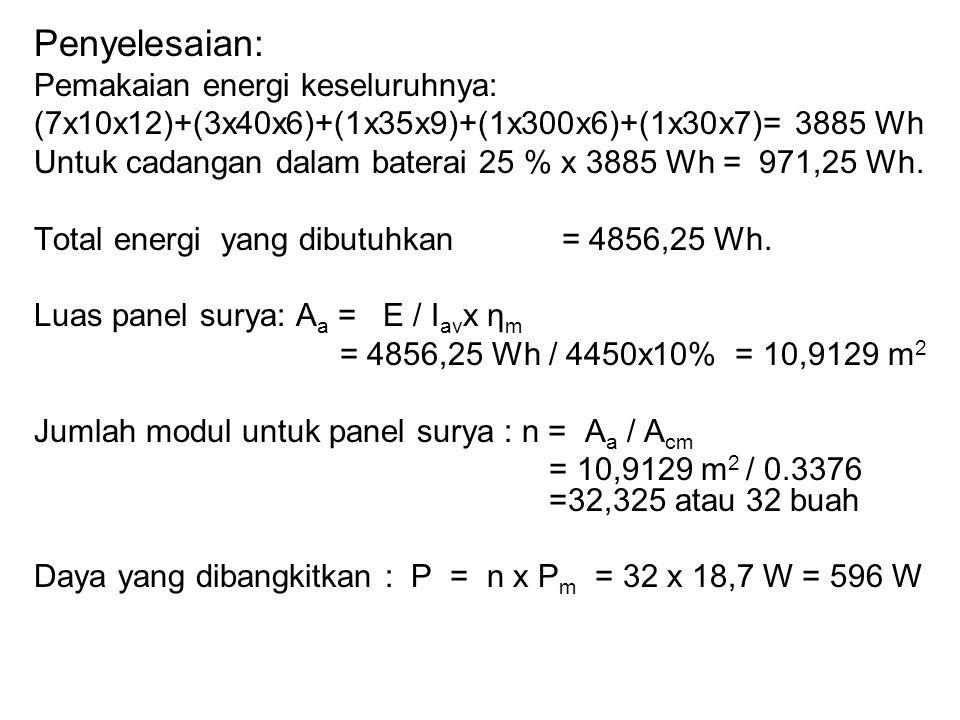 Penyelesaian: Pemakaian energi keseluruhnya: (7x10x12)+(3x40x6)+(1x35x9)+(1x300x6)+(1x30x7)= 3885 Wh Untuk cadangan dalam baterai 25 % x 3885 Wh = 971,25 Wh.
