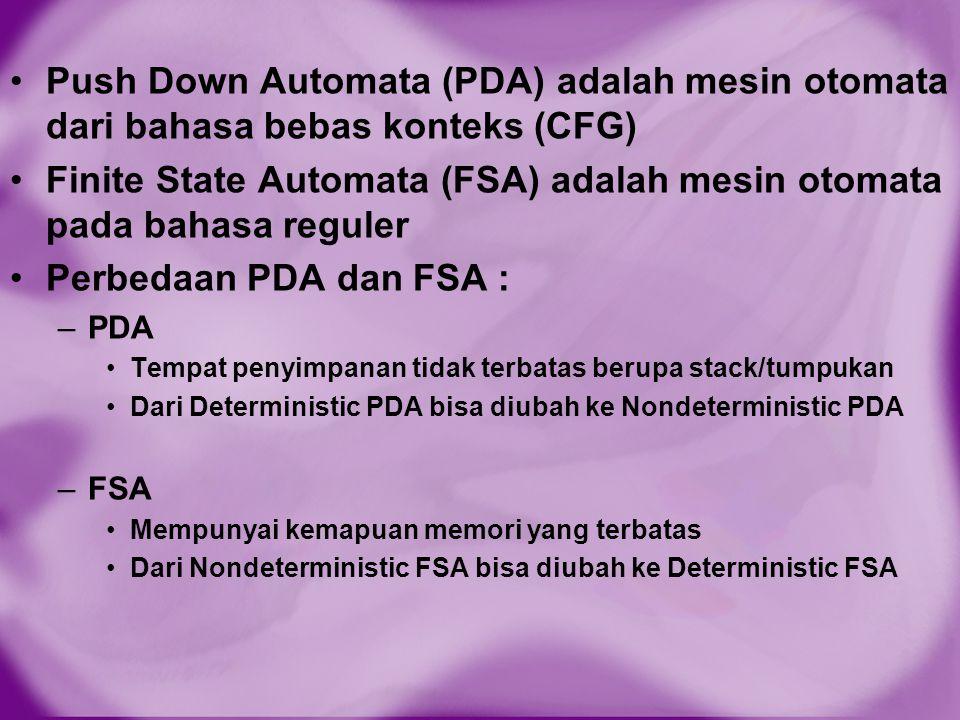 Push Down Automata (PDA) adalah mesin otomata dari bahasa bebas konteks (CFG) Finite State Automata (FSA) adalah mesin otomata pada bahasa reguler Per