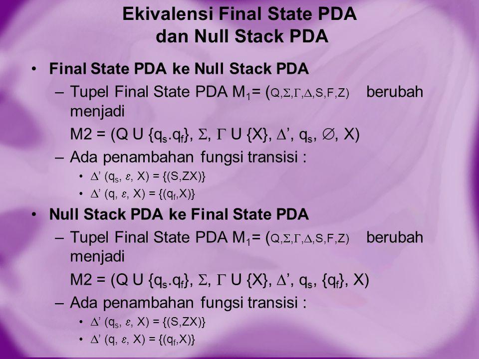 Null Stack PDA ke Final State PDA –Tupel Final State PDA M 1 = ( Q, , , ,S,F,Z) berubah menjadi M2 = (Q U {q s.q f }, ,  U {X},  ', q s, {q f }, X) –Ada penambahan fungsi transisi :  ' (q s, , X) = {(S,ZX)}  ' (q, , X) = {(q f,X)}