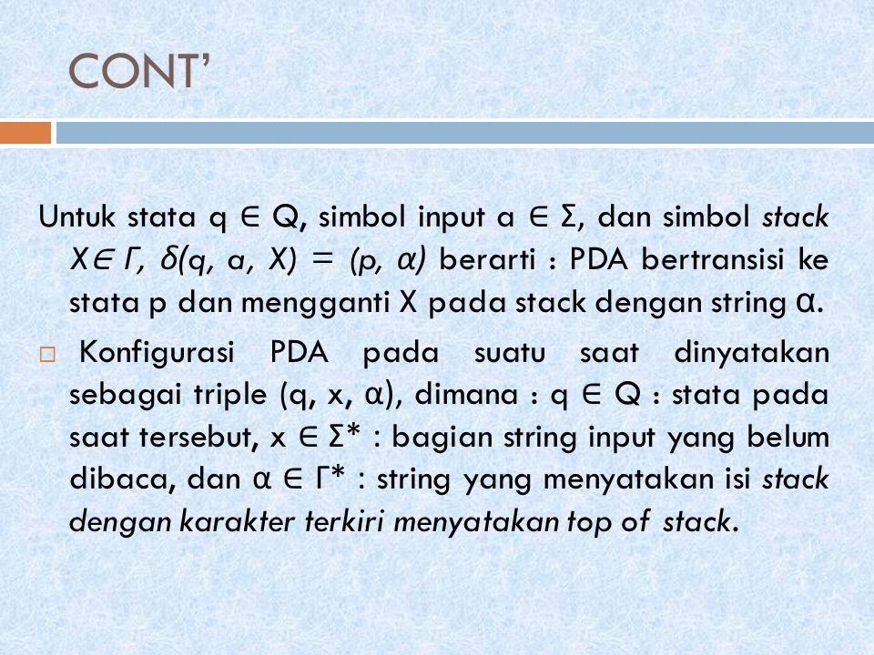CONT' Untuk stata q ∈ Q, simbol input a ∈ Σ, dan simbol stack X ∈ Γ, δ (q, a, X) = (p, α ) berarti : PDA bertransisi ke stata p dan mengganti X pada stack dengan string α.