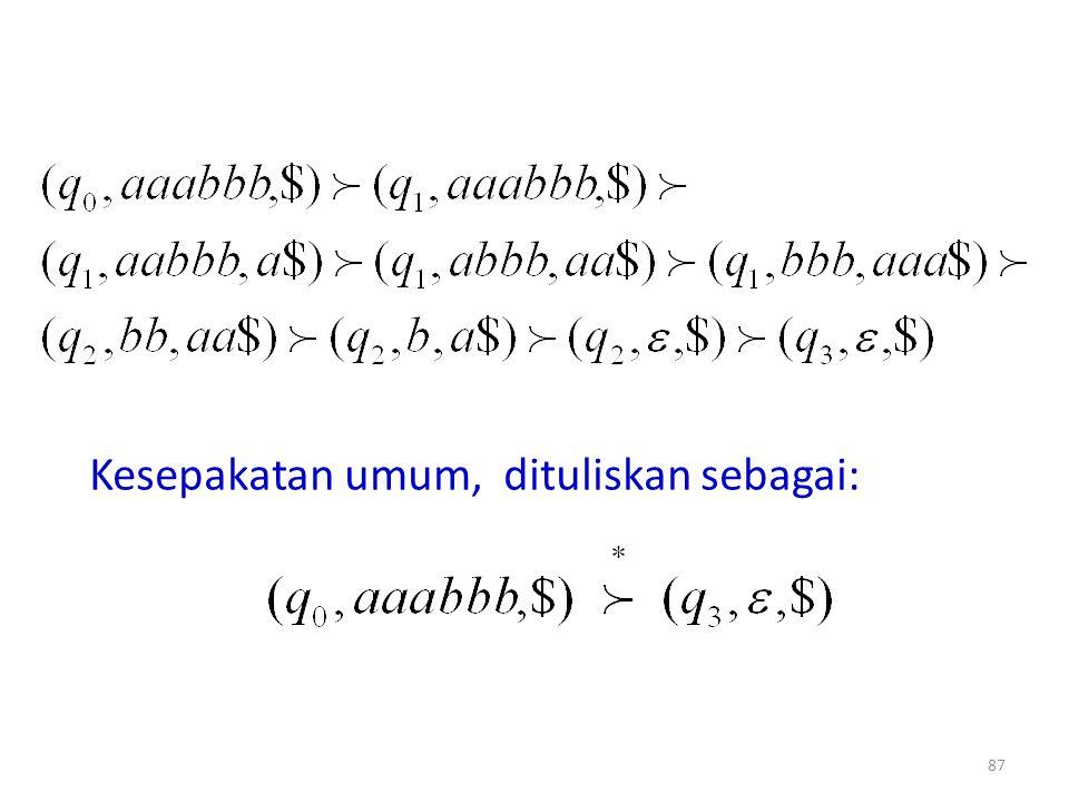 87 Kesepakatan umum, dituliskan sebagai: