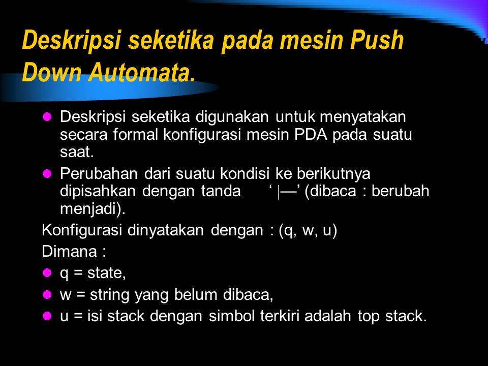 Deskripsi seketika pada mesin Push Down Automata. Deskripsi seketika digunakan untuk menyatakan secara formal konfigurasi mesin PDA pada suatu saat. P