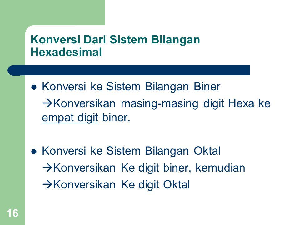 16 Konversi Dari Sistem Bilangan Hexadesimal Konversi ke Sistem Bilangan Biner  Konversikan masing-masing digit Hexa ke empat digit biner.