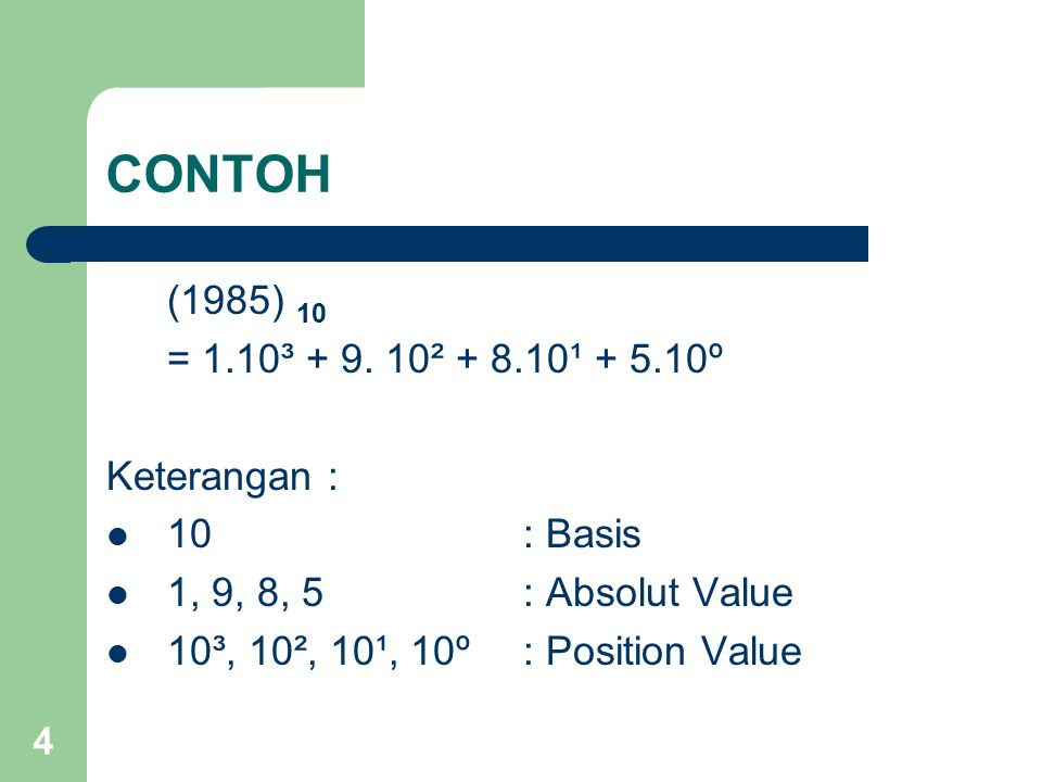 4 CONTOH (1985) 10 = 1.10³ + 9. 10² + 8.10¹ + 5.10º Keterangan : 10: Basis 1, 9, 8, 5 : Absolut Value 10³, 10², 10¹, 10º: Position Value