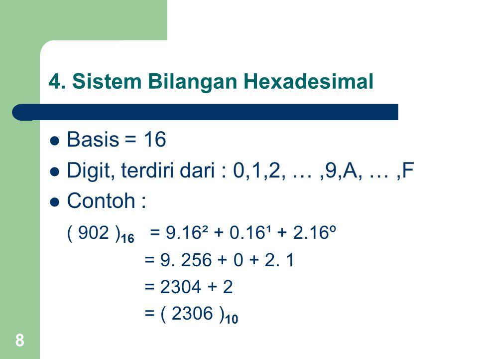 8 4. Sistem Bilangan Hexadesimal Basis = 16 Digit, terdiri dari : 0,1,2, …,9,A, …,F Contoh : ( 902 ) 16 = 9.16² + 0.16¹ + 2.16º = 9. 256 + 0 + 2. 1 =