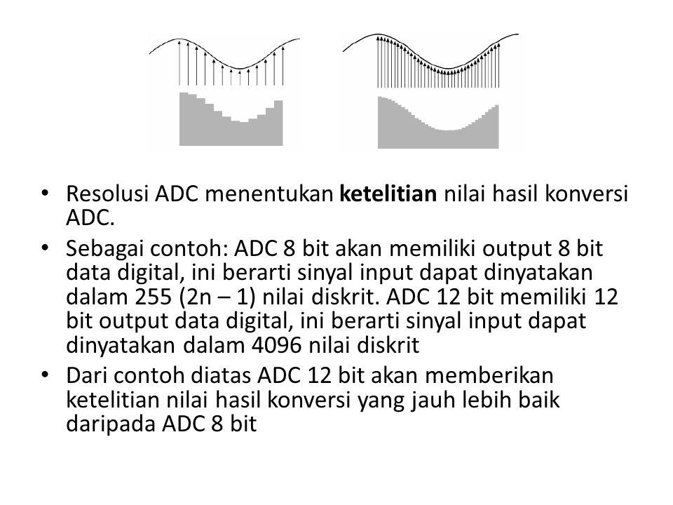 Resolusi ADC menentukan ketelitian nilai hasil konversi ADC.