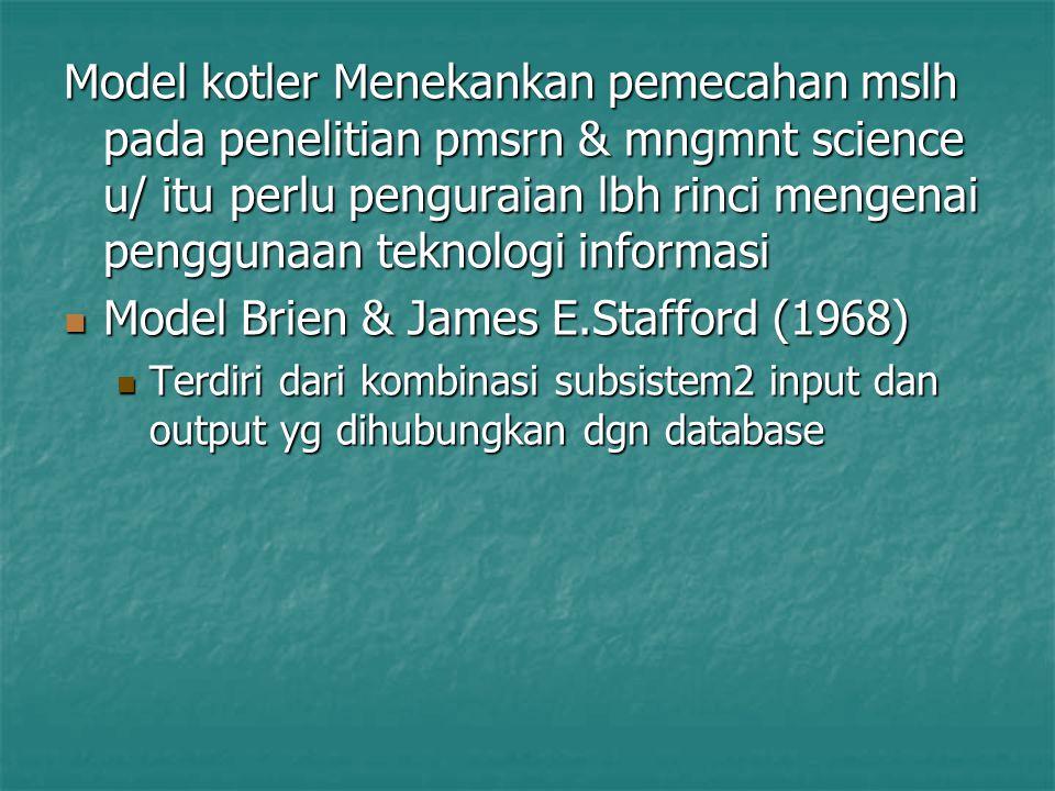 Model kotler Menekankan pemecahan mslh pada penelitian pmsrn & mngmnt science u/ itu perlu penguraian lbh rinci mengenai penggunaan teknologi informas