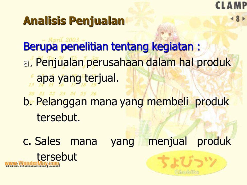 Analisis Penjualan Berupa penelitian tentang kegiatan : a. Penjualan perusahaan dalam hal produk apa yang terjual. apa yang terjual. b. Pelanggan mana