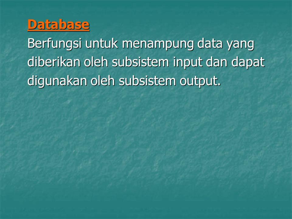 Database Berfungsi untuk menampung data yang diberikan oleh subsistem input dan dapat digunakan oleh subsistem output.