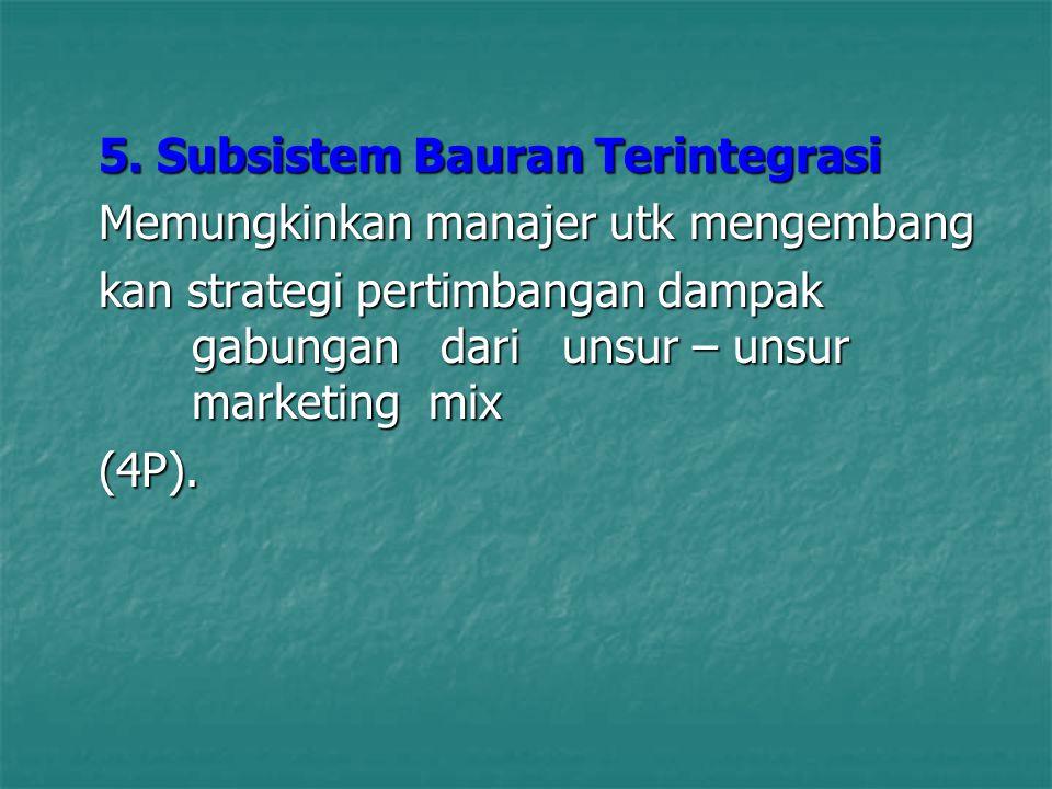 5. Subsistem Bauran Terintegrasi Memungkinkan manajer utk mengembang kan strategi pertimbangan dampak gabungan dari unsur – unsur marketing mix (4P).