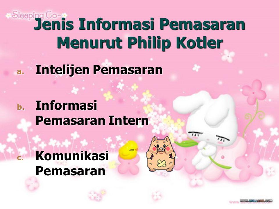 Jenis Informasi Pemasaran Menurut Philip Kotler a. Intelijen Pemasaran b. Informasi Pemasaran Intern c. Komunikasi Pemasaran