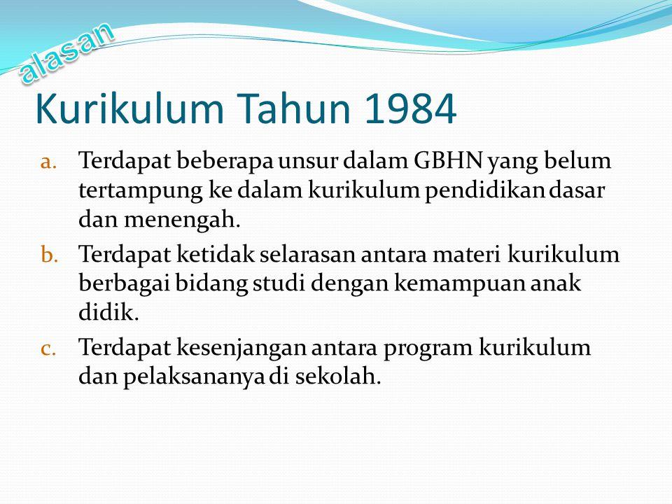 Kurikulum Tahun 1984 a. Terdapat beberapa unsur dalam GBHN yang belum tertampung ke dalam kurikulum pendidikan dasar dan menengah. b. Terdapat ketidak