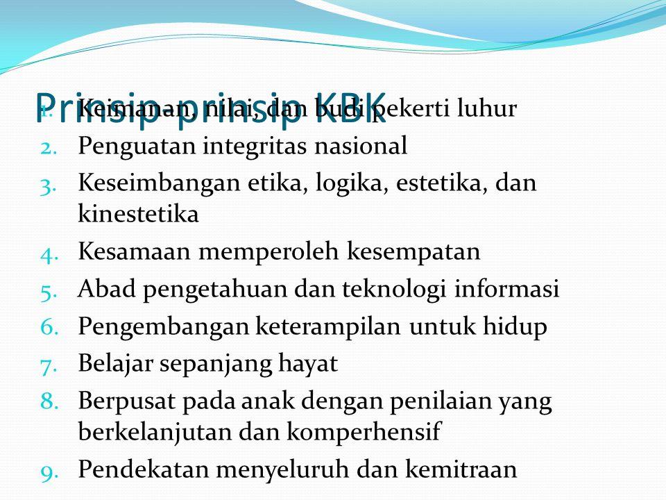 Prinsip-prinsip KBK 1. Keimanan, nilai, dan budi pekerti luhur 2. Penguatan integritas nasional 3. Keseimbangan etika, logika, estetika, dan kinesteti