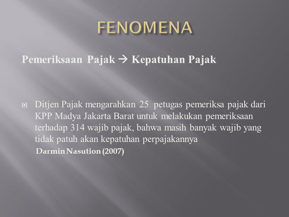Pemeriksaan Pajak  Kepatuhan Pajak  Ditjen Pajak mengarahkan 25 petugas pemeriksa pajak dari KPP Madya Jakarta Barat untuk melakukan pemeriksaan terhadap 314 wajib pajak, bahwa masih banyak wajib yang tidak patuh akan kepatuhan perpajakannya Darmin Nasution (2007)