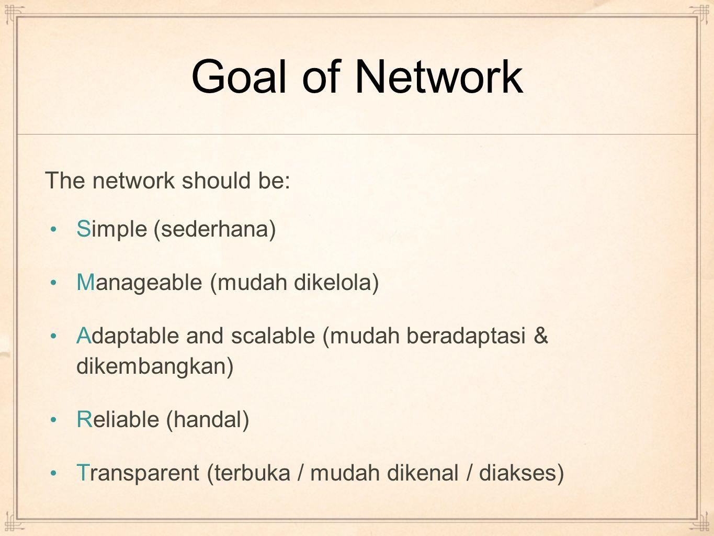 Goal of Network Simple (sederhana) Manageable (mudah dikelola) Adaptable and scalable (mudah beradaptasi & dikembangkan) Reliable (handal) Transparent