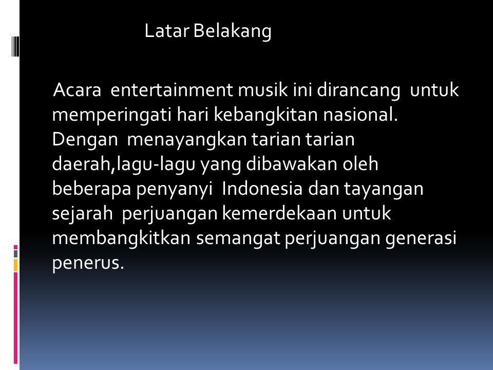 Latar Belakang Acara entertainment musik ini dirancang untuk memperingati hari kebangkitan nasional. Dengan menayangkan tarian tarian daerah,lagu-lagu