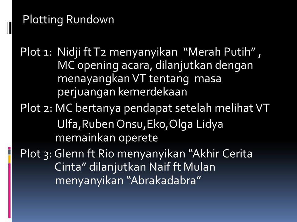 """Plotting Rundown Plot 1: Nidji ft T2 menyanyikan """"Merah Putih"""", MC opening acara, dilanjutkan dengan menayangkan VT tentang masa perjuangan kemerdekaa"""