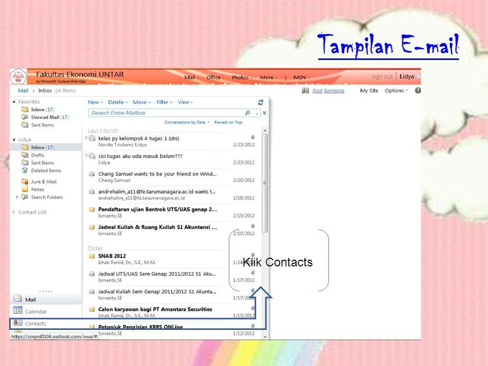 Tampilan E-mail Klik Contacts