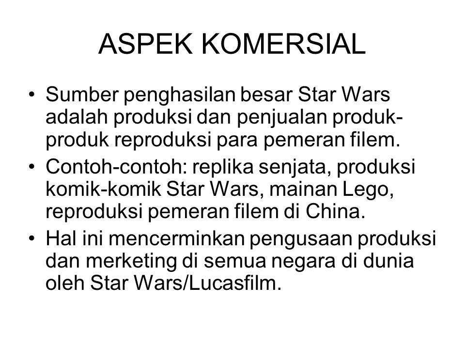 ASPEK KOMERSIAL Sumber penghasilan besar Star Wars adalah produksi dan penjualan produk- produk reproduksi para pemeran filem. Contoh-contoh: replika
