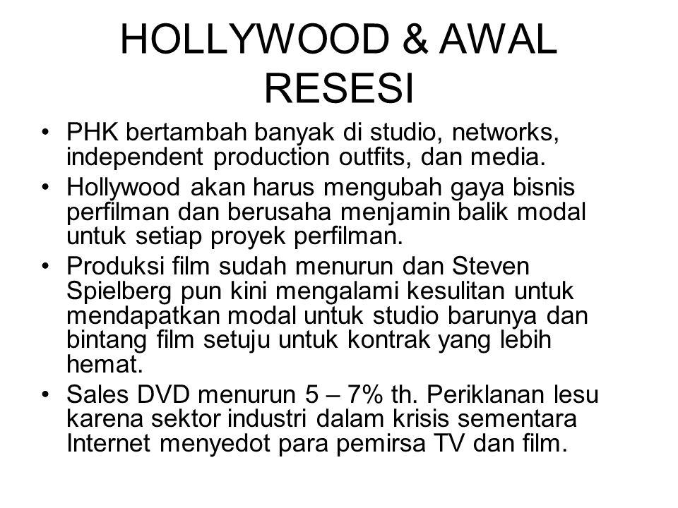 HOLLYWOOD & AWAL RESESI PHK bertambah banyak di studio, networks, independent production outfits, dan media. Hollywood akan harus mengubah gaya bisnis