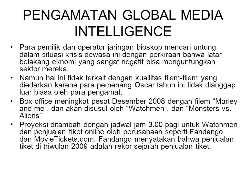 PENGAMATAN GLOBAL MEDIA INTELLIGENCE Para pemilik dan operator jaringan bioskop mencari untung dalam situasi krisis dewasa ini dengan perkiraan bahwa