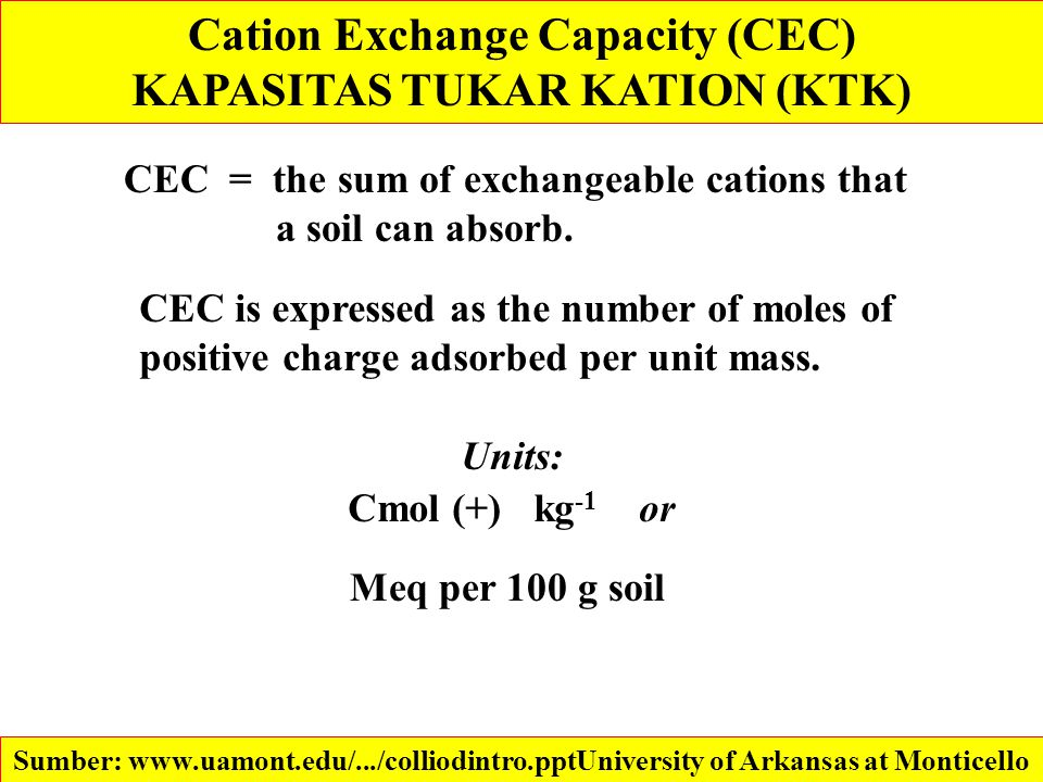 Cation Exchange Capacity (CEC) KAPASITAS TUKAR KATION (KTK) CEC = the sum of exchangeable cations that a soil can absorb. CEC is expressed as the numb