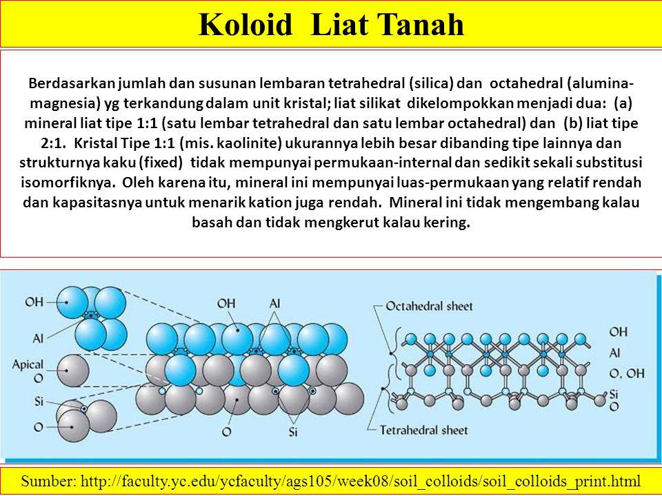 Koloid Liat Tanah Berdasarkan jumlah dan susunan lembaran tetrahedral (silica) dan octahedral (alumina- magnesia) yg terkandung dalam unit kristal; li