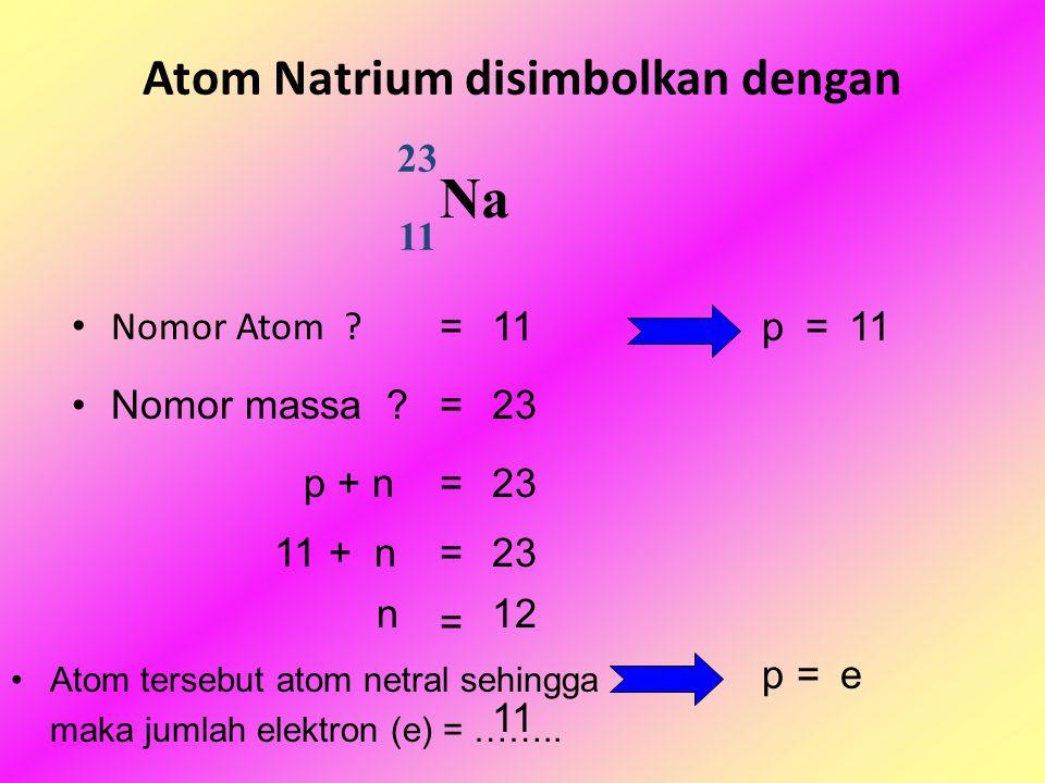 Atom Natrium disimbolkan dengan Nomor Atom . 23 Na 11 = p = Nomor massa .