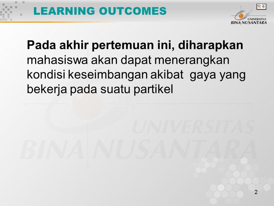 2 LEARNING OUTCOMES Pada akhir pertemuan ini, diharapkan mahasiswa akan dapat menerangkan kondisi keseimbangan akibat gaya yang bekerja pada suatu partikel