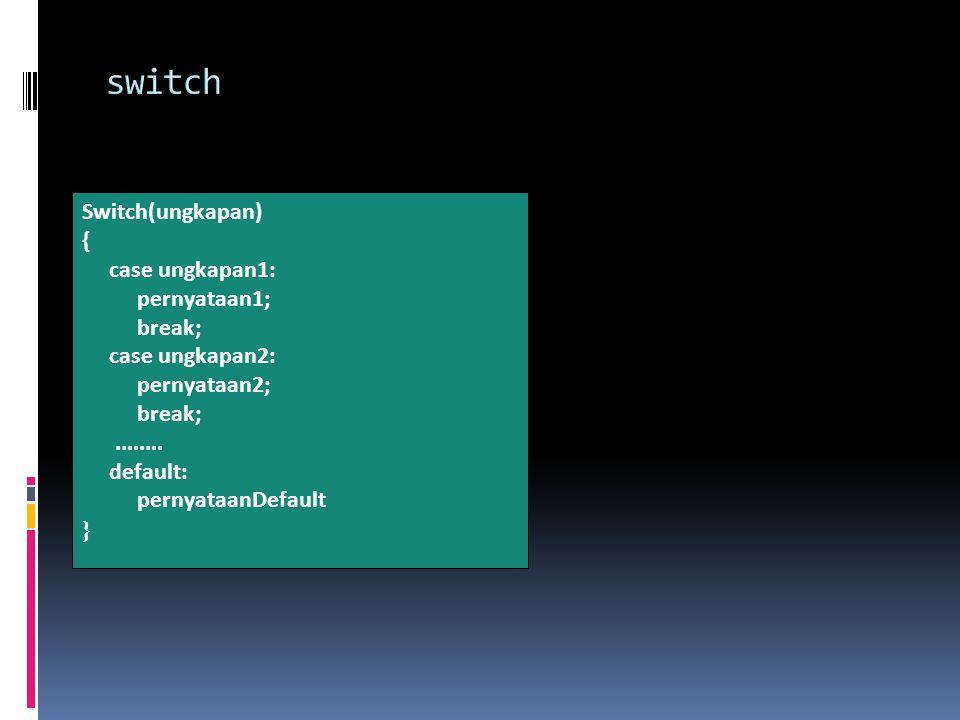 Switch(ungkapan) { case ungkapan1: pernyataan1; break; case ungkapan2: pernyataan2; break;........
