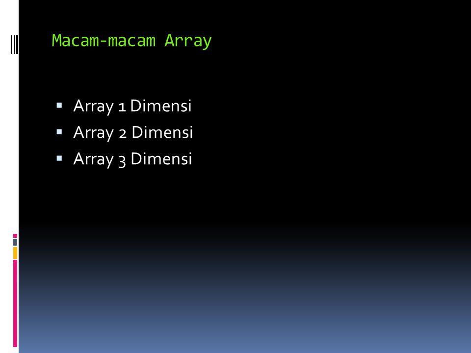  Array 1 Dimensi  Array 2 Dimensi  Array 3 Dimensi