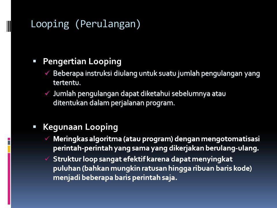  Pengertian Looping Beberapa instruksi diulang untuk suatu jumlah pengulangan yang tertentu.