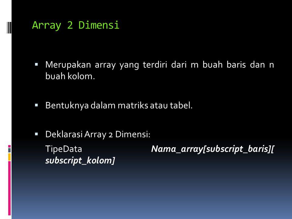  Merupakan array yang terdiri dari m buah baris dan n buah kolom.
