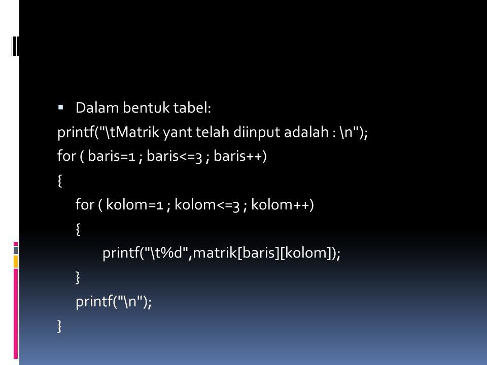  Dalam bentuk tabel: printf( \tMatrik yant telah diinput adalah : \n ); for ( baris=1 ; baris<=3 ; baris++) { for ( kolom=1 ; kolom<=3 ; kolom++) { printf( \t%d ,matrik[baris][kolom]); } printf( \n ); }