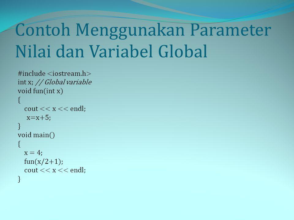 Contoh Menggunakan Parameter Nilai dan Variabel Global #include int x; // Global variable void fun(int x) { cout << x << endl; x=x+5; } void main() {
