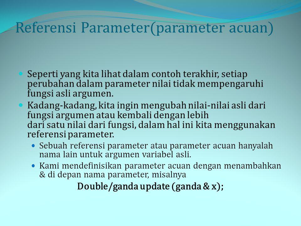 Referensi Parameter(parameter acuan) Seperti yang kita lihat dalam contoh terakhir, setiap perubahan dalam parameter nilai tidak mempengaruhi fungsi a