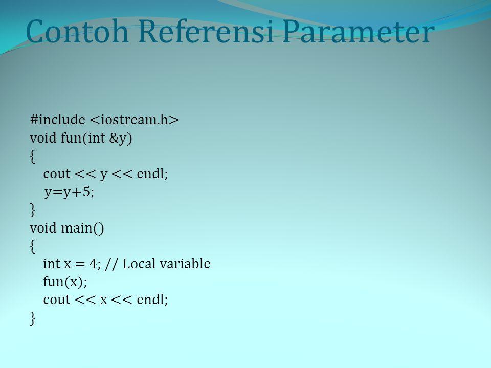 Parameter Referensi Konstan Parameter referensi Konstan digunakan di bawah dua kondisi berikut: Data berlalu begitu besar dan Anda ingin menghemat waktu dan memori komputer.