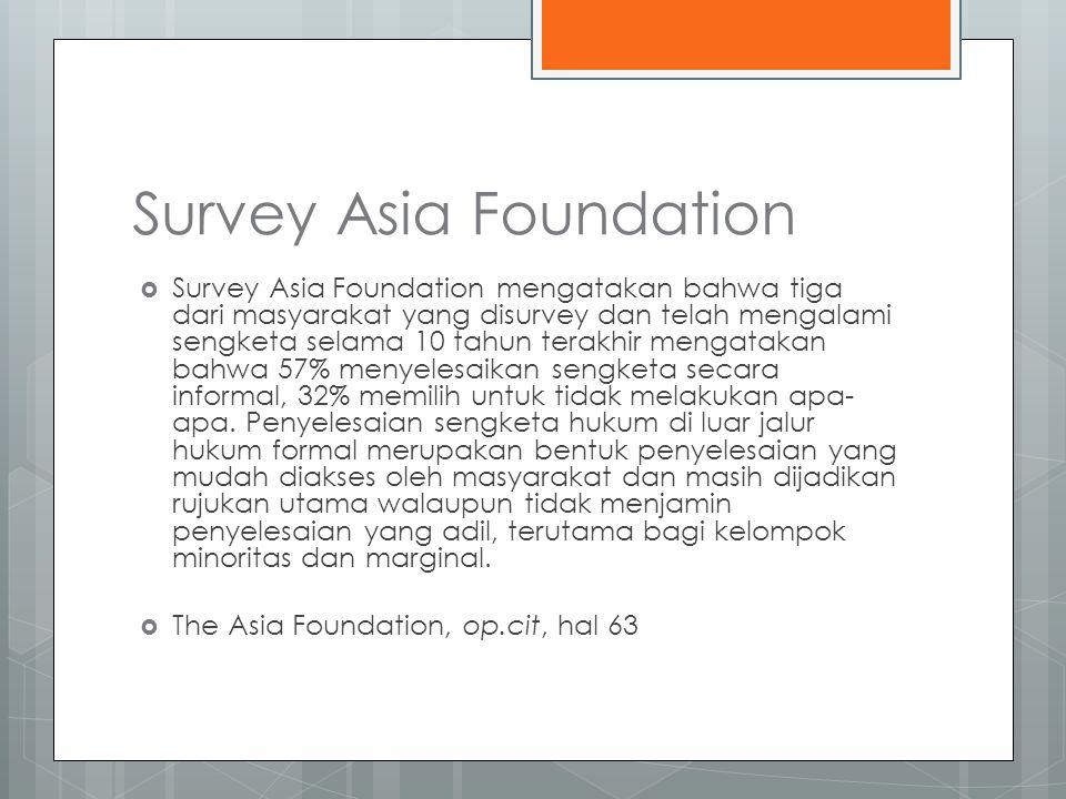 Survey Asia Foundation  Survey Asia Foundation mengatakan bahwa tiga dari masyarakat yang disurvey dan telah mengalami sengketa selama 10 tahun terakhir mengatakan bahwa 57% menyelesaikan sengketa secara informal, 32% memilih untuk tidak melakukan apa- apa.