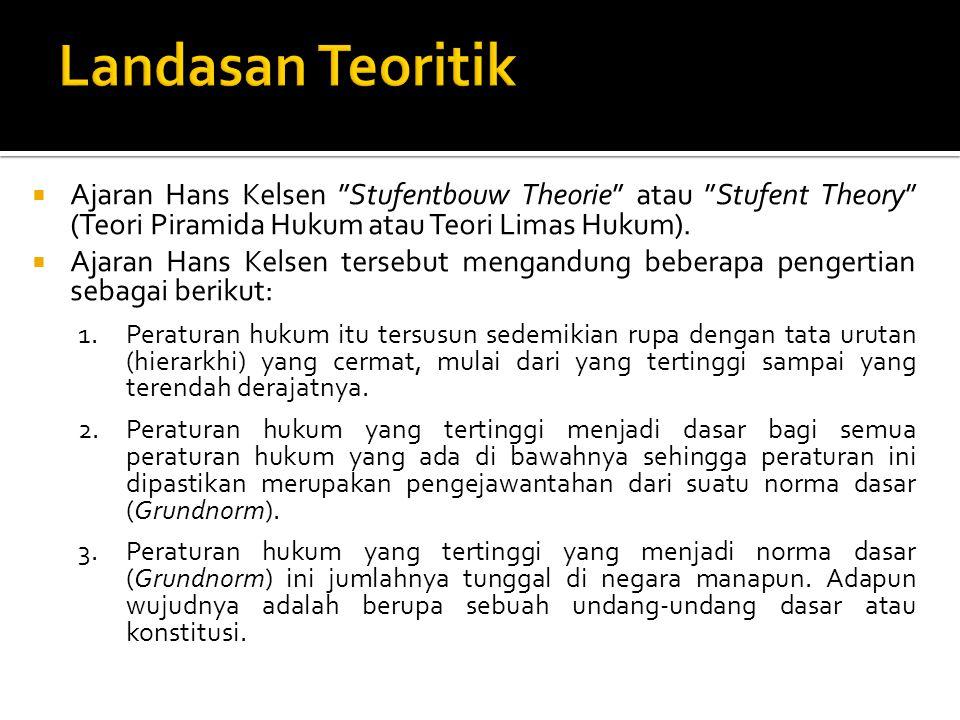 " Ajaran Hans Kelsen ""Stufentbouw Theorie"" atau ""Stufent Theory"" (Teori Piramida Hukum atau Teori Limas Hukum).  Ajaran Hans Kelsen tersebut mengandu"