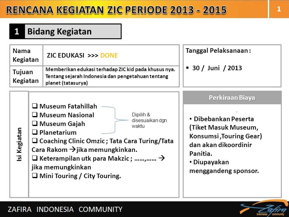 1 Nama Kegiatan ZIC EDUKASI >>> DONE Tujuan Kegiatan Memberikan edukasi terhadap ZIC kid pada khusus nya. Tentang sejarah Indonesia dan pengetahuan te