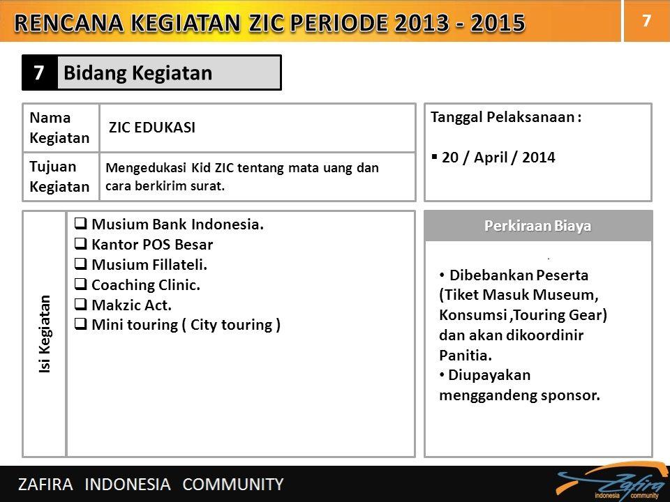 7 Nama Kegiatan ZIC EDUKASI Tujuan Kegiatan Mengedukasi Kid ZIC tentang mata uang dan cara berkirim surat. Isi Kegiatan  Musium Bank Indonesia.  Kan