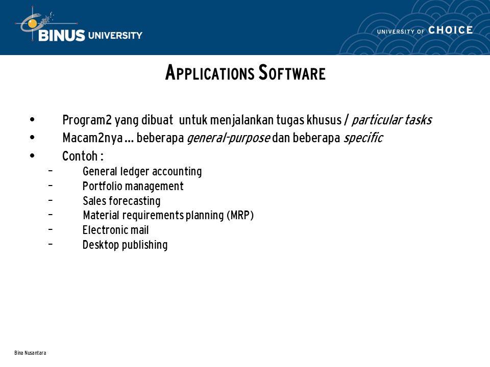 Bina Nusantara Program2 yang dibuat untuk menjalankan tugas khusus / particular tasks Macam2nya … beberapa general-purpose dan beberapa specific Conto