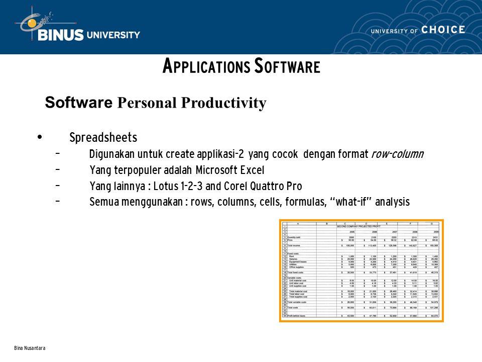 Bina Nusantara Spreadsheets – Digunakan untuk create applikasi-2 yang cocok dengan format row-column – Yang terpopuler adalah Microsoft Excel – Yang lainnya : Lotus 1-2-3 and Corel Quattro Pro – Semua menggunakan : rows, columns, cells, formulas, what-if analysis A PPLICATIONS S OFTWARE Software Personal Productivity