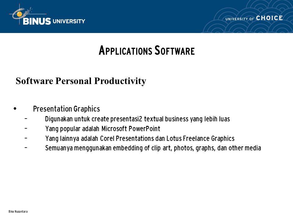 Bina Nusantara Presentation Graphics – Digunakan untuk create presentasi2 textual business yang lebih luas – Yang popular adalah Microsoft PowerPoint